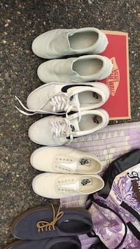 three pairs of white low-top sneakers Surrey, V4N 0V1