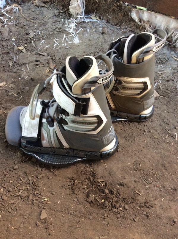 Pair of white-and-gray wake boarding  boots