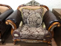Brown wooden framed brown floral padded leather  armchair Oak Park, 48237