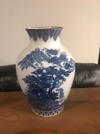 Ceramic white vase with blue bonsai design Falls Church, 22042