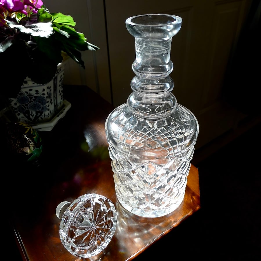 Antique Crystal 3 Ring Diamond Point Decanter ac8f7023-4892-4823-b780-88aeee88a0f5