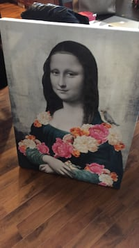 Mona Lisa with flowers and bird painting Maple Ridge, V2W