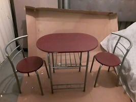 Brand new 3 piece table with built in wine rack