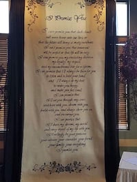 Canvas Wedding Backdrop With Poem. Edmonton, T6L 1G7