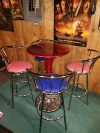 Pub table set, two red and blue bar stools Mansfield, 44905