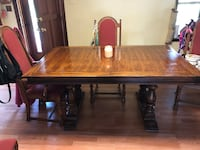 Solid wood table, 6 chairs and 2 piece matching hutch New Park
