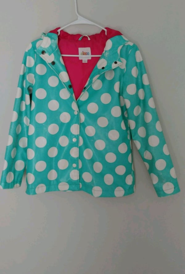 Young girl's waterproof jacket with hoodie (Size L 69648ff3-3636-4cf6-b555-ede4e7cfb338