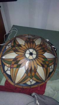 Stained glass hanging bowl lamp VICTORIA