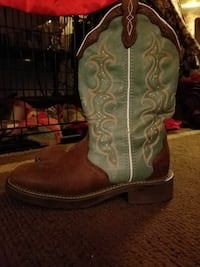 Justins brown and green boots