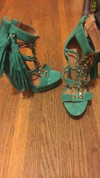 Pair of green-and-brown leather sandals