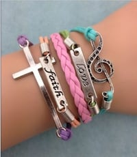 New Infinity Faith Love Cross Note Leather Charm Bracelet plated Silver Calgary