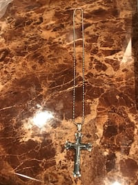 Nice Silver Plated Cross on a Cross 20 inch Necklace $35