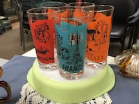 five assorted drinking glasses