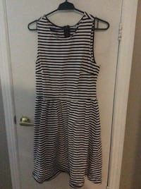 White and black stripe sleeveless dress