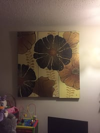 Brown flowers wall art in 3 pieces