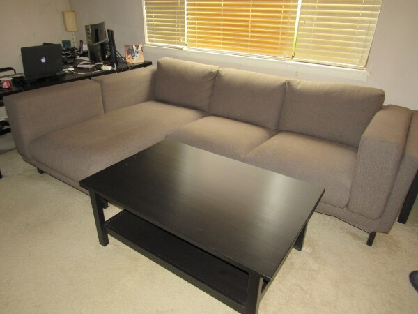 Used Ikea Nockeby Loveseat With Chaise Teno Brown And Hemnes Coffee Table Black