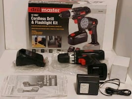 NEW. DRILL MASTER CORDLESS DRILL. MISSING BATTERY AND FLASHLIGHT.