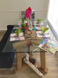 Crate and barrel designer glass dining table PRICE DROP!! $600 Vancouver