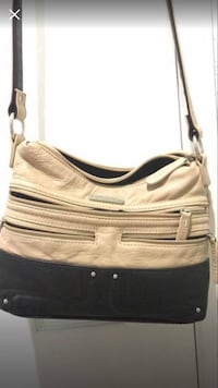 women's beige and black leather sling bag Antelope, 95843