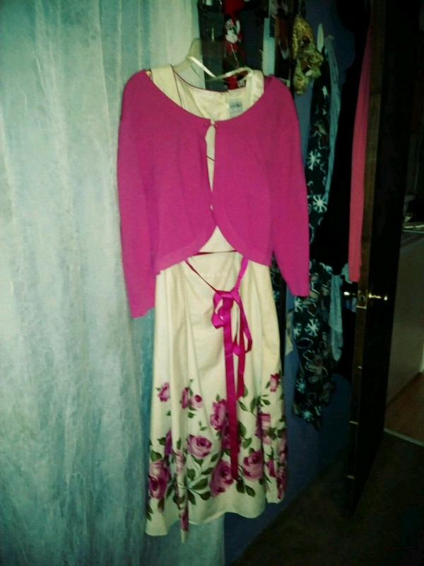 women's pink and white long sleeve dress