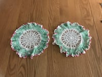 """2 vintage hand crocheted round doilies with ruffled green pink edge 8"""" Fiskdale, 01518"""