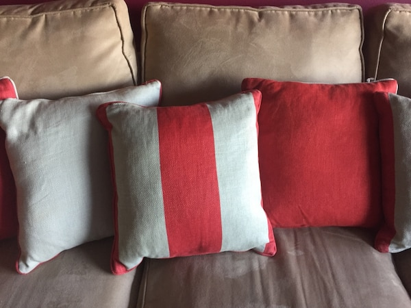 6 Red And Cream Pillows