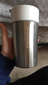 silver and white Starbucks travel mug London, N6G 5B1