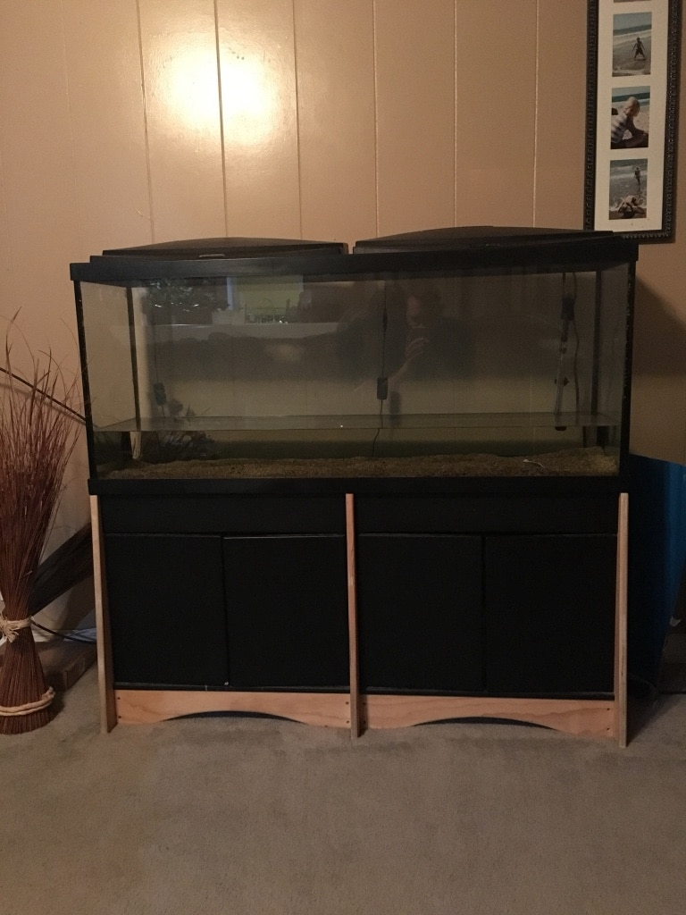 Begagnad 55 gallon Aquarium fish tank with stand. Canopy tops have built in LED lights till salu i Morgan Hill - letgo & Begagnad 55 gallon Aquarium fish tank with stand. Canopy tops have ...