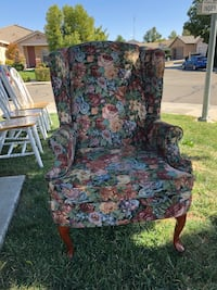 Floral Patterned Wing Back Chair W/ Ottoman 2341 mi