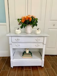 Newly refinished rustic distressed white wood rolling cart / foyer / kitchen / office  Boca Raton, 33431