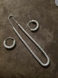 silver plated hoop earring with necklace