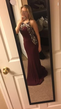 burgundy long prom dress Folsom