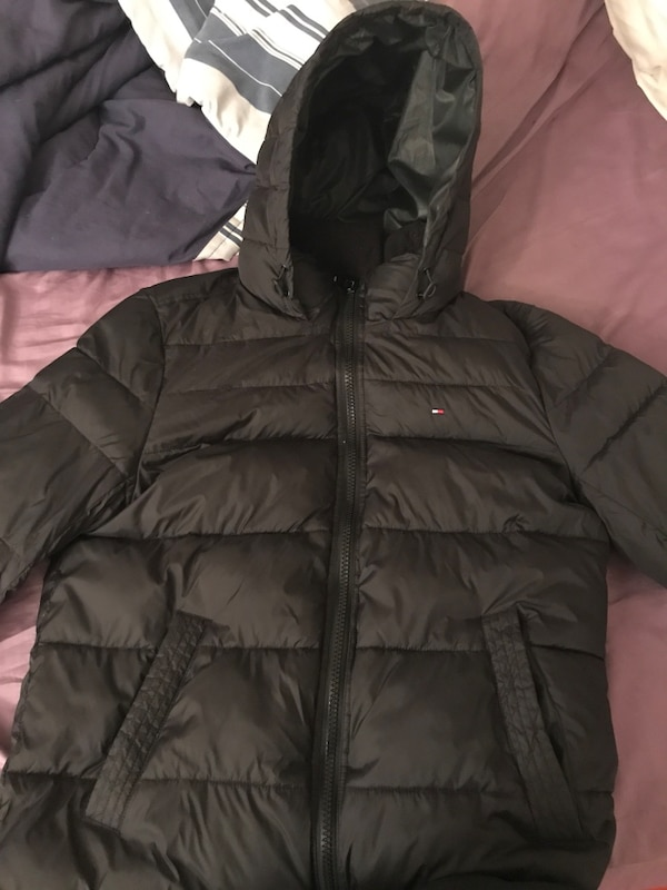 best online limpid in sight new concept black Tommy Hilfiger bubble jacket with hood