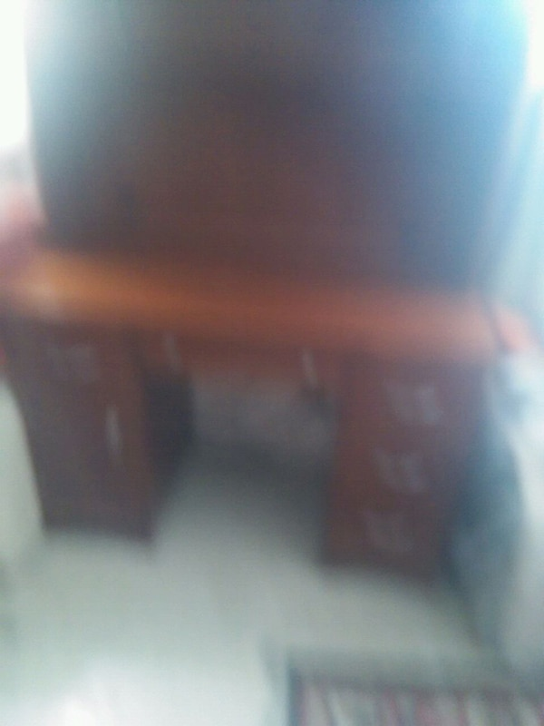 brown wooden desk with hutch 1