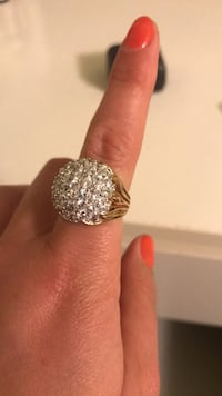 Ring diamonds and fake gold, size 7 Elizabeth, 07201