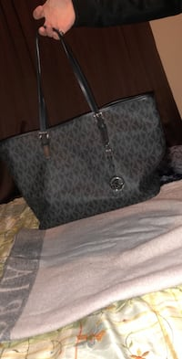 Monogrammed gray michael kors leather tote bag 360 mi