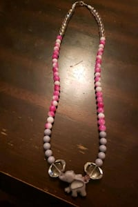 Pink and gray elephant necklace