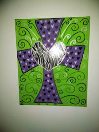 green, purple, and white abstract painting Houston, 77004