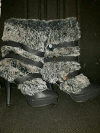 pair of black suede fur-lined stiletto winter boot Manassas, 20109