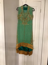 green and brown floral sleeveless dress 538 km