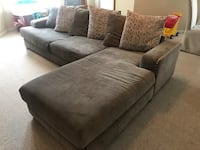 Sofa w/ Chaise, L-Shaped, Grey, Modern, Deep Cushions, Sectional Leesburg, 20175