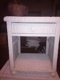 white wooden single-drawer end table MONTREAL
