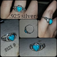 Irish claddagh ring. .925 silver with turquoise