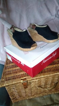pair of brown-and-black wedge sandals Bunker Hill, 25413
