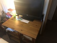 black flat screen TV with remote Yorkville, 60560