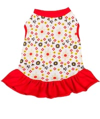 Blueberry Pet Red & Sunshine Yellow Floral Cotton Dog Dress