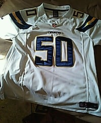 white and blue NFL jersey