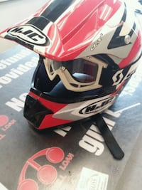 red and black HJC full-face helmet 55 mi