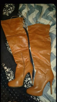 pair of brown leather knee-high boots Virginia Beach, 23462