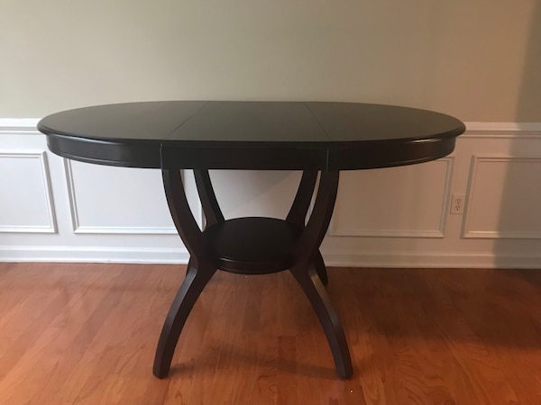 Round Espresso Kitchen Dining Table With Adjustable Leaf